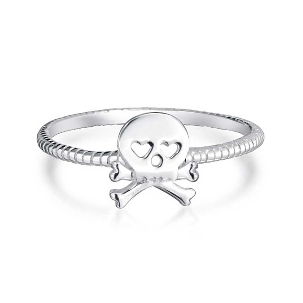 Sterling Silver Heart Goth Skull and Crossbones Stackable Ring