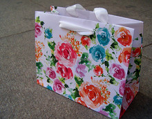 fresh big rose flower printed shopping high quality paper bag