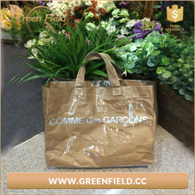 printed logo Genuine washable Kraft paper Tote Bags Large Lady Hand Bag with PVC cover