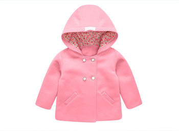 2-6 years Baby woolen pink coat double-breasted with hood autumn winter high quality OEM kids clothes manufacture