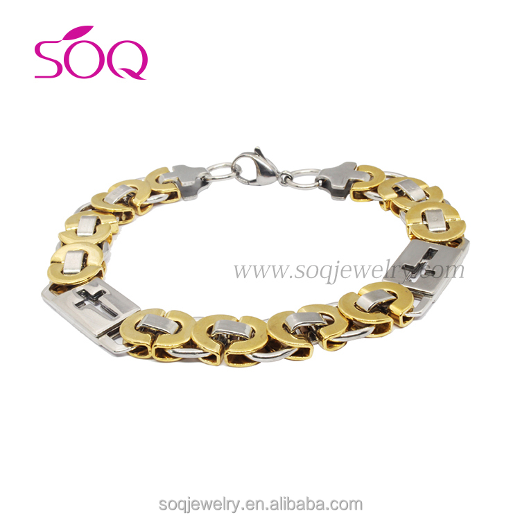 QB-0139 Wholesale Antique Simple Designs Stainless Steel Two Tone Chain Link Bracelet with Cross Buckle
