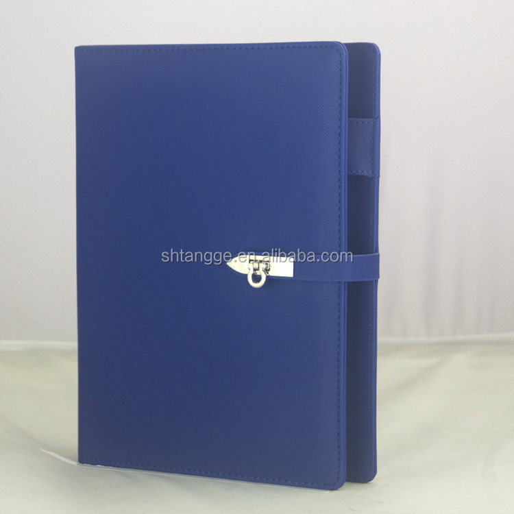 Stitching bule cover loose leaf leather diary notebook with magnetic lock