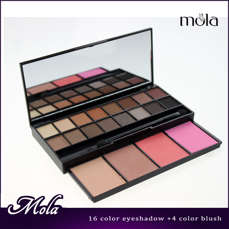 Hight quality 20 color palette,eyeshadow and blush with doube-end sponge show makeup kits