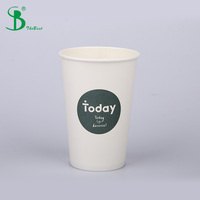 16 oz Custom Printing logo paper cup with lid for coffee 500 ml