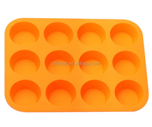 2016 hot sale food grade healthy material silicone round 12 cups cake moluds