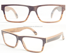 Two color wood and bamboo reading glasses frame, changeable design for optical shop