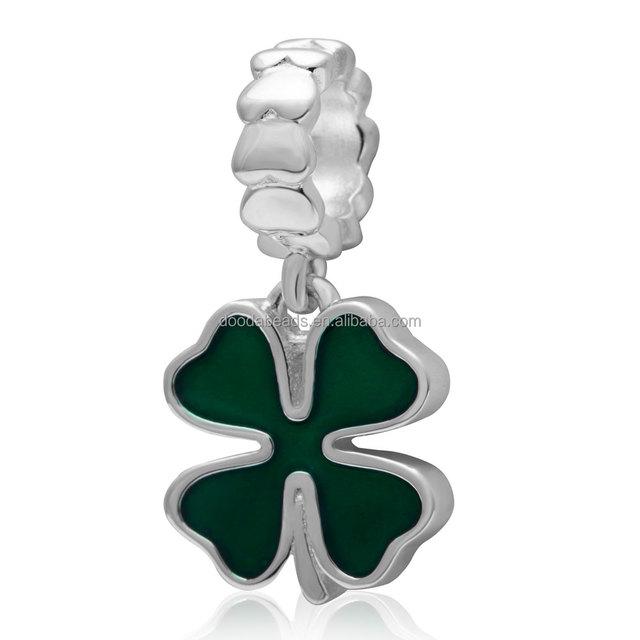 925 Sterling Silver Dangle Green Four Leaf Clover Charms Pendant for Bracelet Necklace