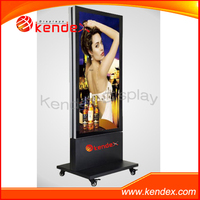 Standing tall LED pop advertising promotion display with metal frame and universal wheels