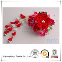 HIgh quality red ribbon flowers for wedding dresses, craft folowers.