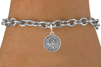 high quality alibaba china lead free round shape engraved word saint christopher religious charms link bracelet jewelry