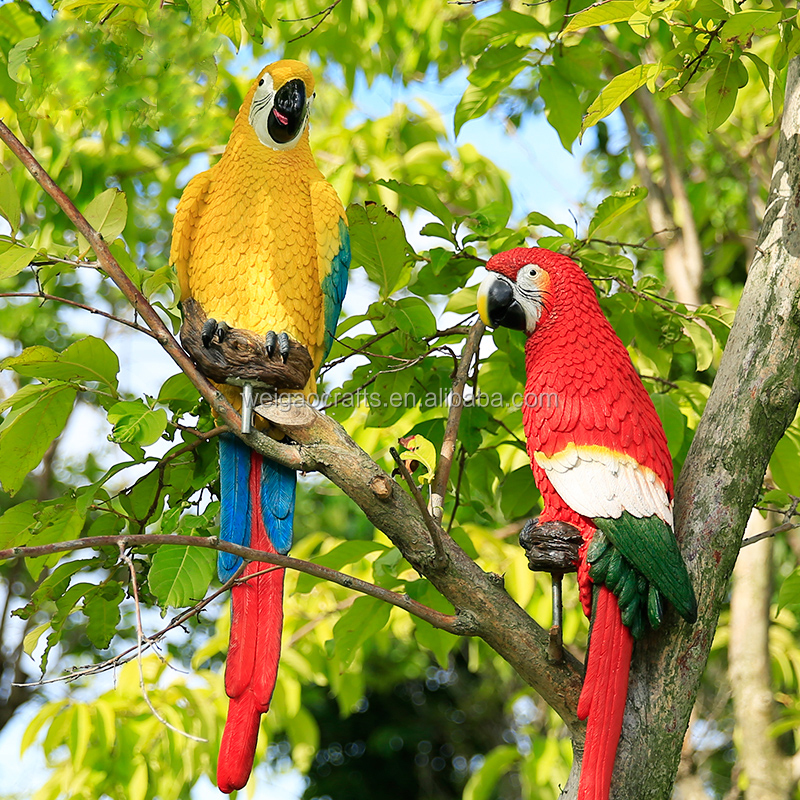 Parrot bird garden outdoor sculpture decoration resin for Decorative birds for outside