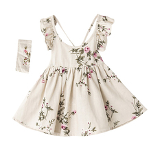 Best Selling Cheap Summer Baby Girls Dress Fashion Backless Design Party Princess Dresses with Hair Band