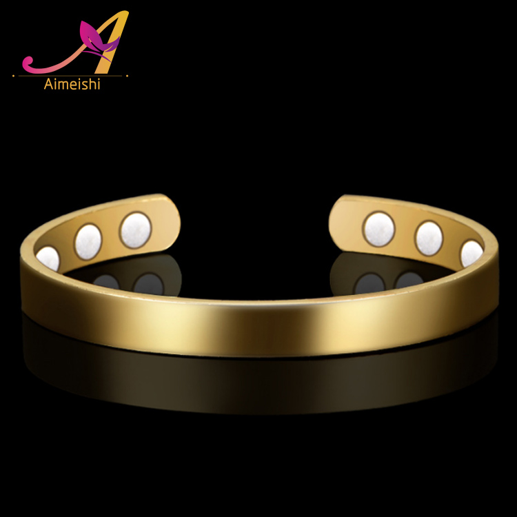 Simple Fashion Dubai Gold Jewelry Women's Copper Energy Bracelet Bangle Magnet