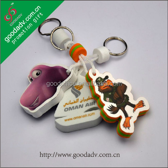 Floatable key rings with hang tag High-end design custom foam keychains