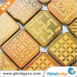 Inkjet Printing Colourful Broken edge Glass Mosaic Cheap Mosaic Tile Sheet Glass Tile Mosaics