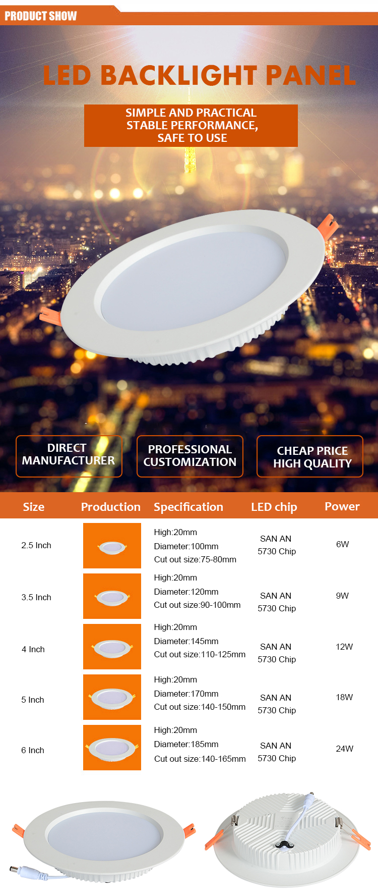 China Low Price SMD LED Panel Lamp Light