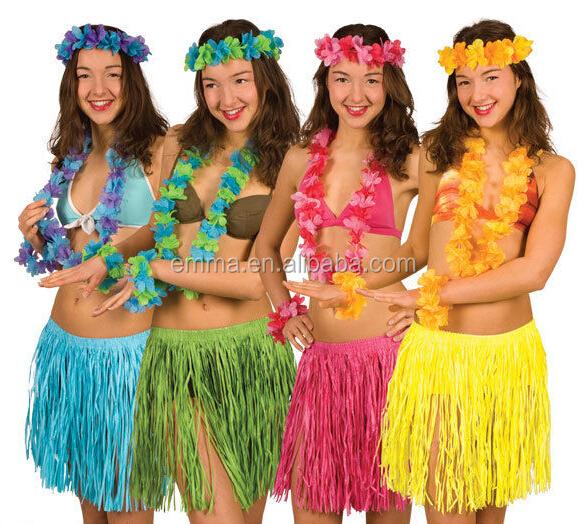 Ladies Hawaiian Hula Dance Skirt Garland Let Luau Coconut