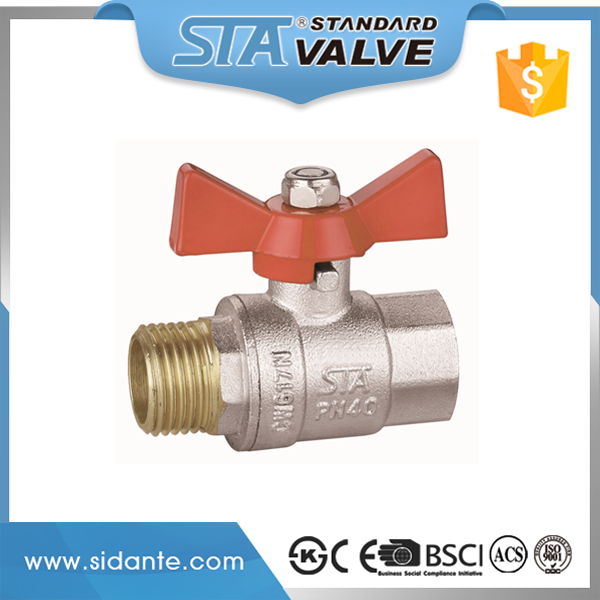 ART.1018 M/F Male to Female 1/2 3/4 1 inch NPT/BSP Threaded Butterfly Handle Brass Ball Valve DN15 DN20 DN25 importer in delhi