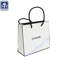 2017 New Arrived fancy design white craft unique decorative plastic rope handle shopping paper gift bag