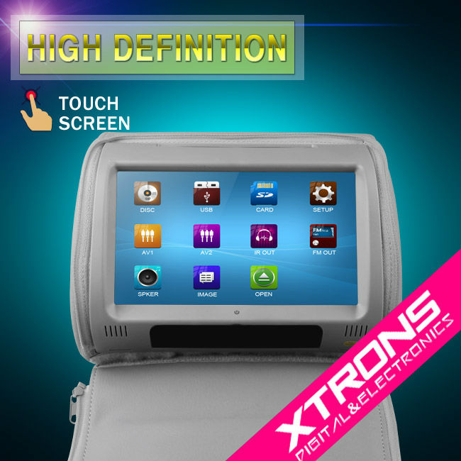 "Xtrons HD908T 2 x 9"" Grey Color HD Headrest Car DVD Player with Touch Screen-9 inch headrest car dvd player"