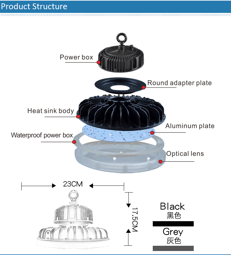 top quality 100w aluminum outdoor led high bay light housing