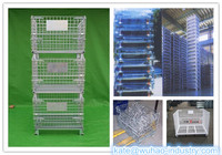 Mesh box wire cage metal bin storage container pyramid quail cages for sale