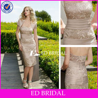 Strapless Tea Length Champagne Mother Of The Bride Lace Dresses With Jacket