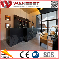 Black solid surface straight bar counter design with back wall wine cabinets Elegant cafe Bar Counter with customized logo