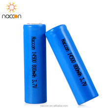 Rechargeable lithium 14500 battery li ion 3.7v icr14500/aa 800mah naccon li ion cylindrical aa battery