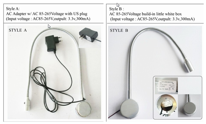 1w 110V 220V aluminum led flexible pipe reading lamp gooseneck bedside led wall light