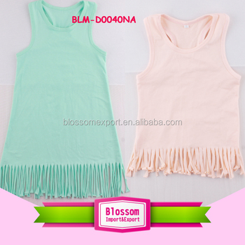 Fashion USA Kids Clothes children cotton frocks frill image designs sleeveless girl dress casual tassels print pattern wholesale