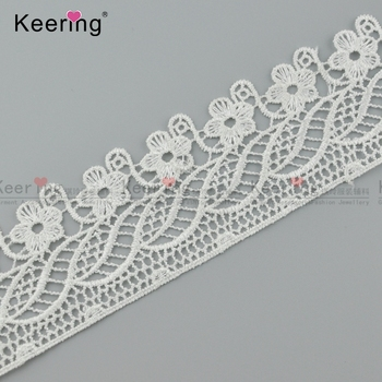 summer white polyester flower lace trimming for women WLCP-021