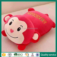 China supplier stuffed cushion throw pillow coral fleece animal blanket