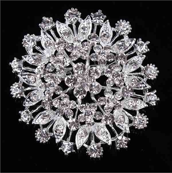 Bright diamond fashion alloy flower brooch