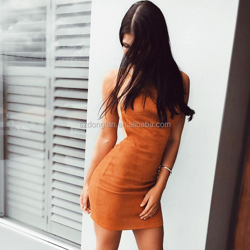 Hollow Out I Ladies Dresses Suede Fabric Fashion Backless Women Sexy Dress