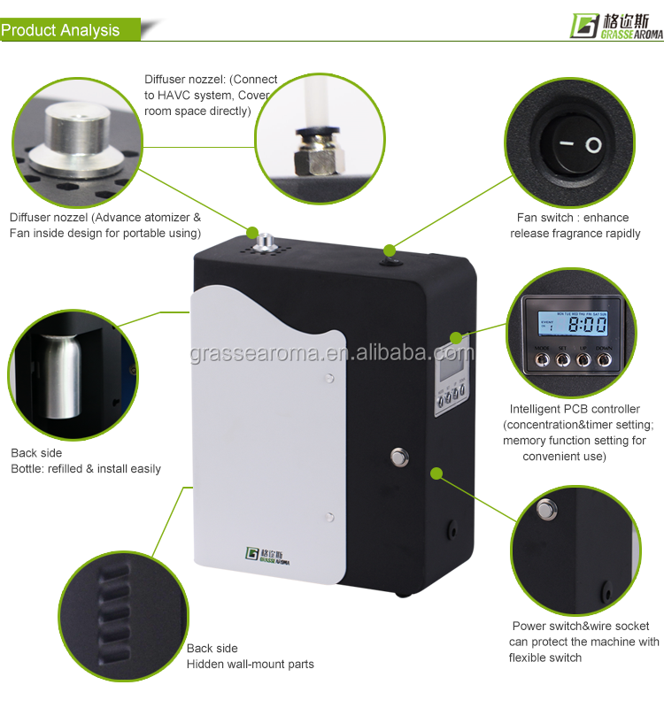 Small Scent Air Machine Diffuser and Eco-Friendly Aroma Dispenser With Timer Program Setting , aroma nebulizer diffusion