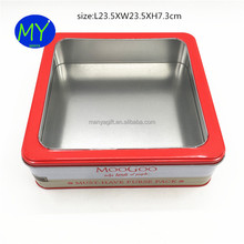 Cheap price metal tin box with clear pvc window with best service and low price