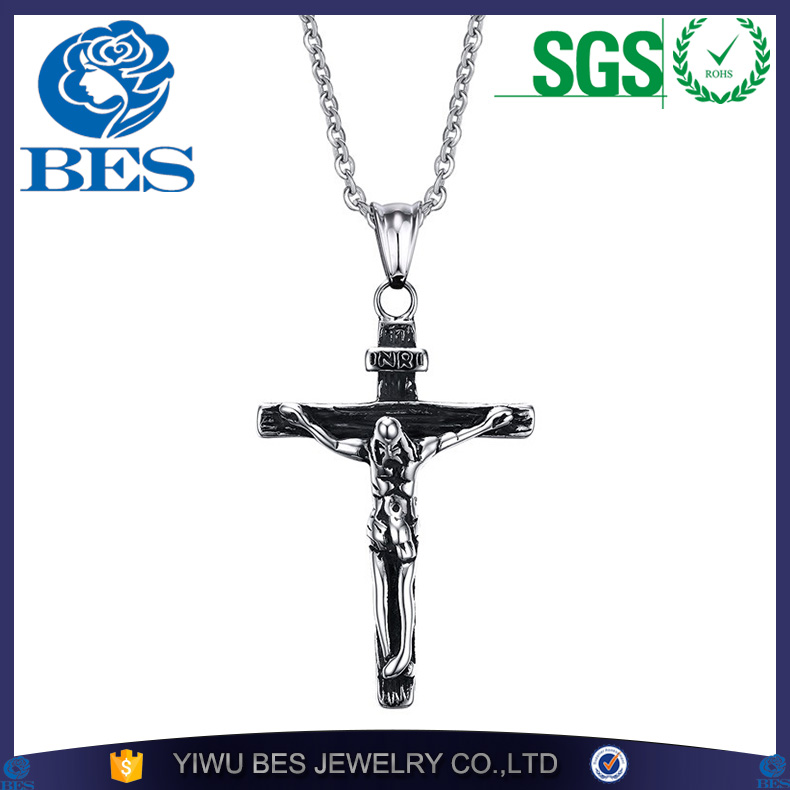 Jesus Cross with Chains Stainless Steel Mens Jewelry INRI Crucifix Gold Plated Christian Jewelry Necklaces & Pendants