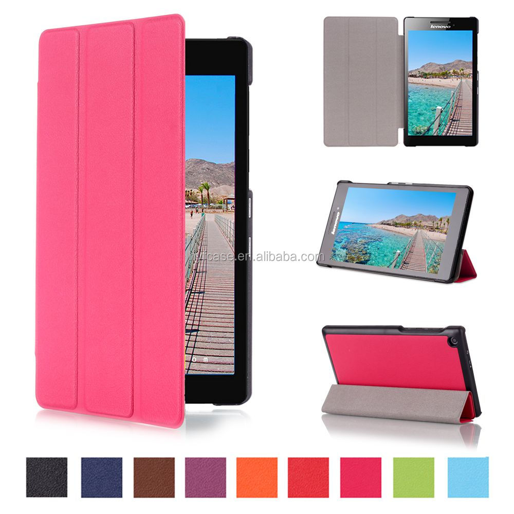 PU Leather Tablet Cover 7'' Tri Fold Flip Case For Lenovo Tab 2 A7-20F with many colors