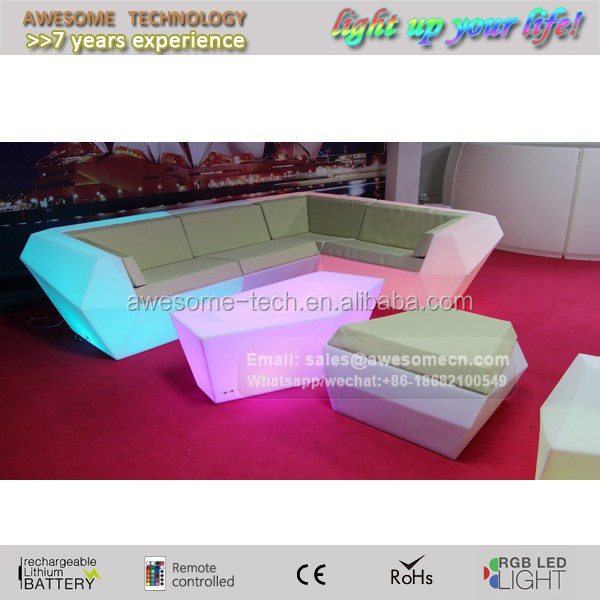 lounge club decorative fancy sofa suite with led lighting