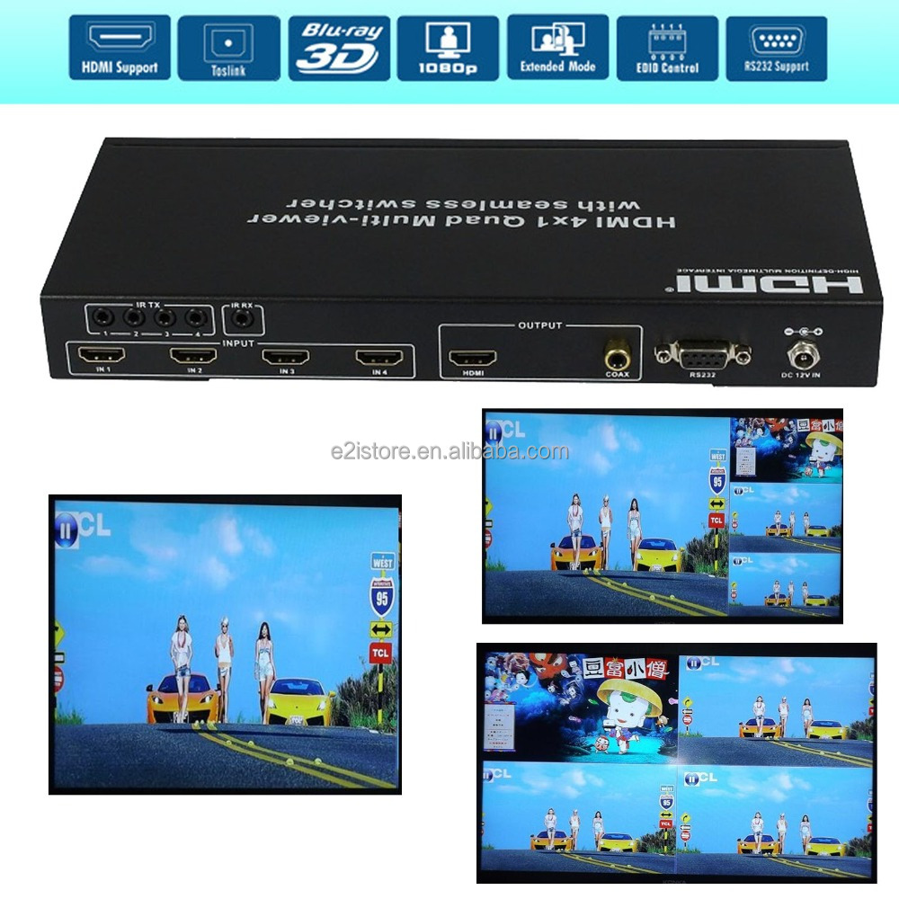 HDMI 4x1 PIP Picture Division HDMI Multi-Viewer Seamless Switcher supports four input source display on one screen + RS232