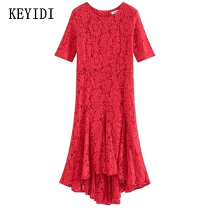 KEYIDI sexy slim lace red light breathable shot front back long lady dress