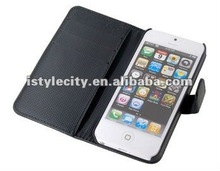 Luxury Flip PU Leather good quality card holder Cover Case for Apple iPhone 5