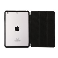 Flip cover with function of stand and automatic dormancy transparent hard PC back soft TPU edge frame case for ipad mini 123