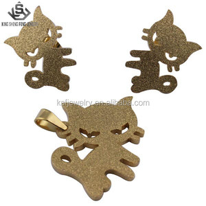 Hot Sell Cute Stainelss Steel Gold Plated Wholesale Jewelry Set Animal Design