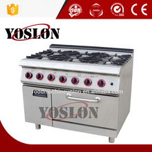 Guangzhou professional manufacturer kitchen equipment in hotel and restaurant Gas6-burner Range with electric oven