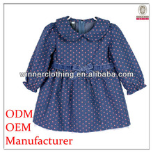dot print child clothes with bow and collar for summer/casual wear