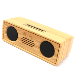 ODM high quality portable big sound wireless BT bamboo wooden classic style magic speaker