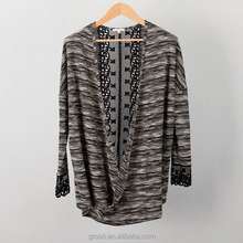 230g woman lady girl Flat knit sweater fashion joint with lace stripes design irregular Knitwear
