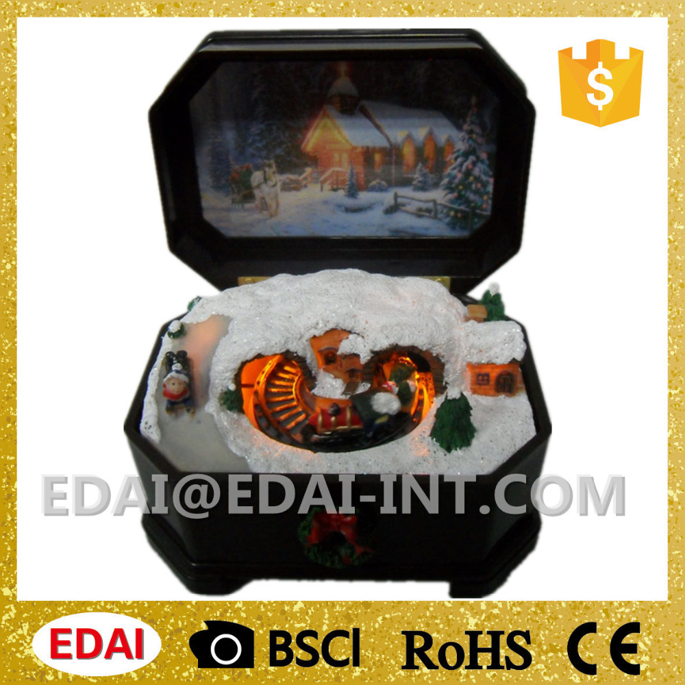 Wholesale christmas music box mechanism with train moving scene and light